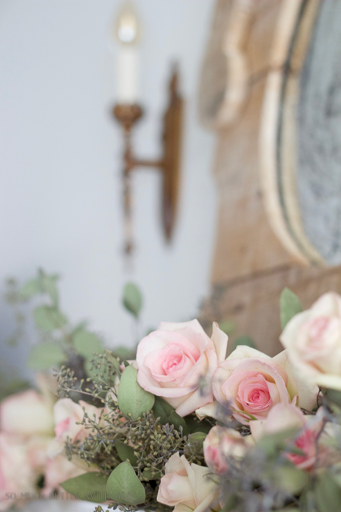 Antiquing a Mirror/ pink roses and wooden mirror - So Much Better With Age