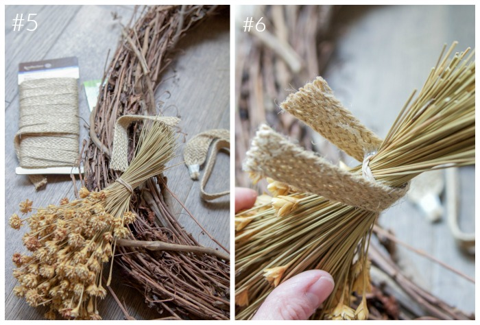 Tying the bushels of flowers together with twine.
