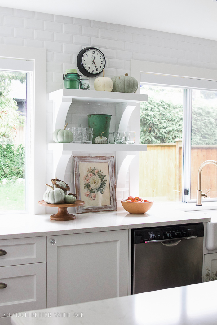 white kitchen, big windows, white kitchen- Fall Kitchen Tour