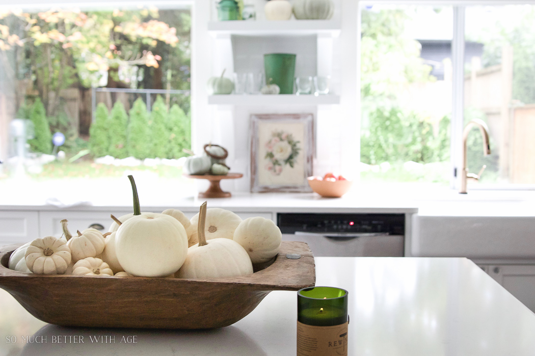 white pumpkins in dough bowl- Fall Kitchen Tour