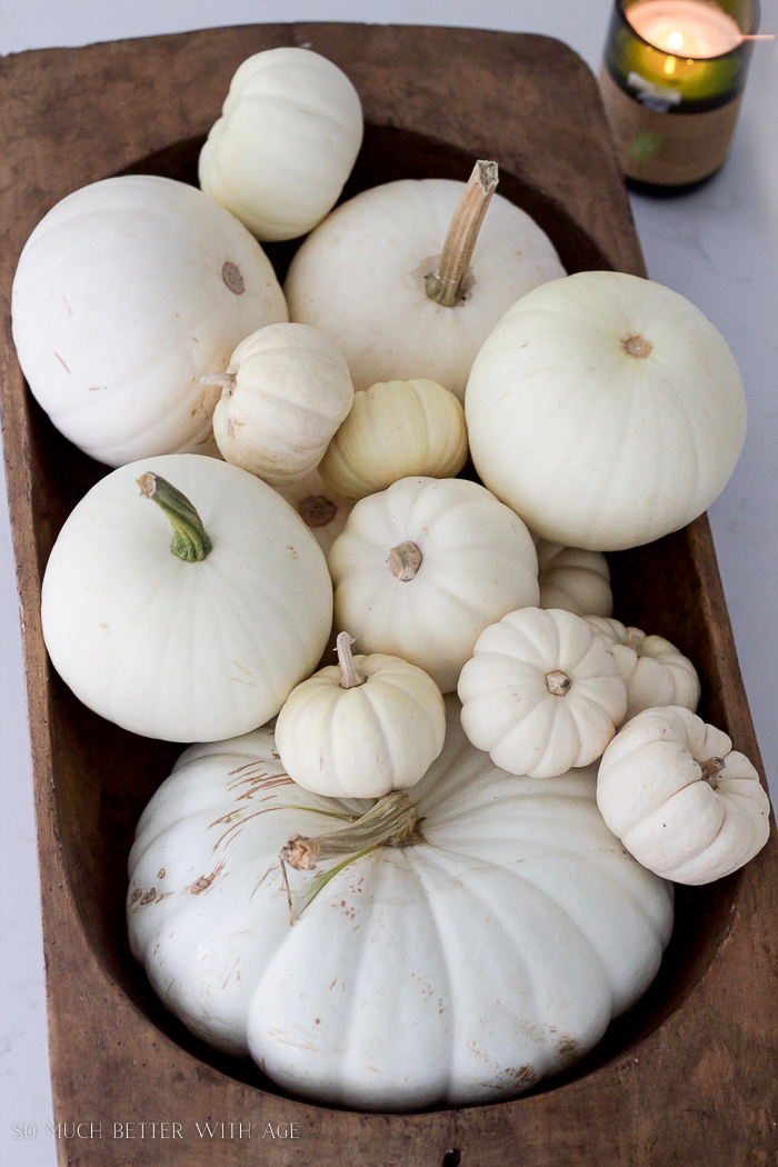 white pumpkins in a dough bowl in kitchen- Fall Kitchen Tour