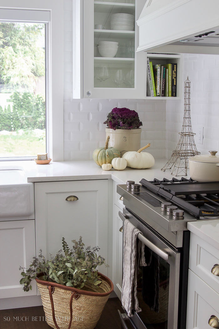 Fall Kitchen Tour / white pumpkins, french market basket, white kitchen  - So Much Better With Age