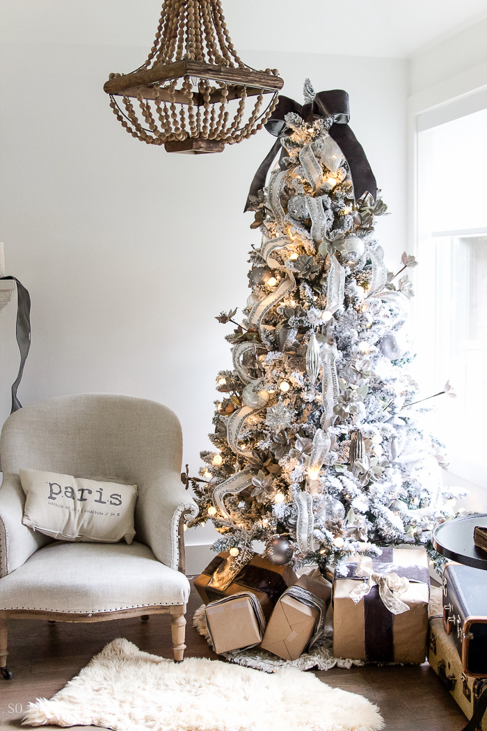 Two flocked Christmas trees, a review / French neutral decor - So Much Better With Age