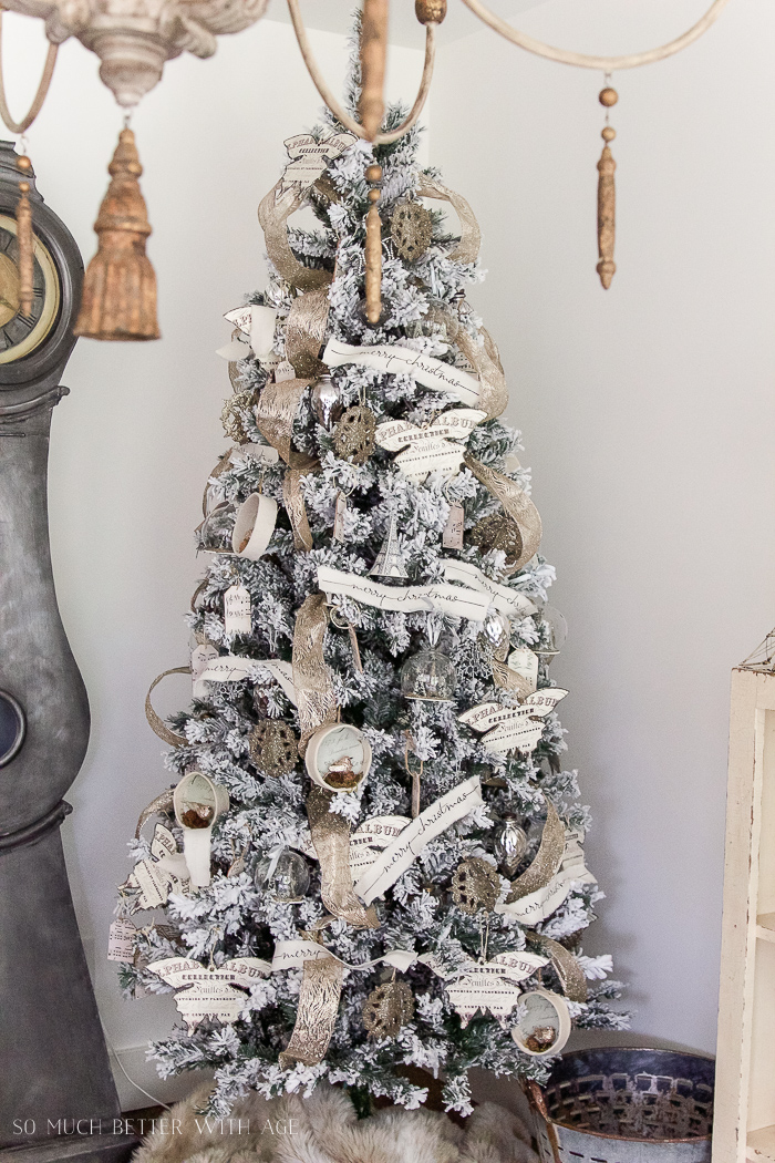 two flocked christmas trees a review decorated flocked christmas tree so much better - Flocked Christmas Tree Decorating Ideas