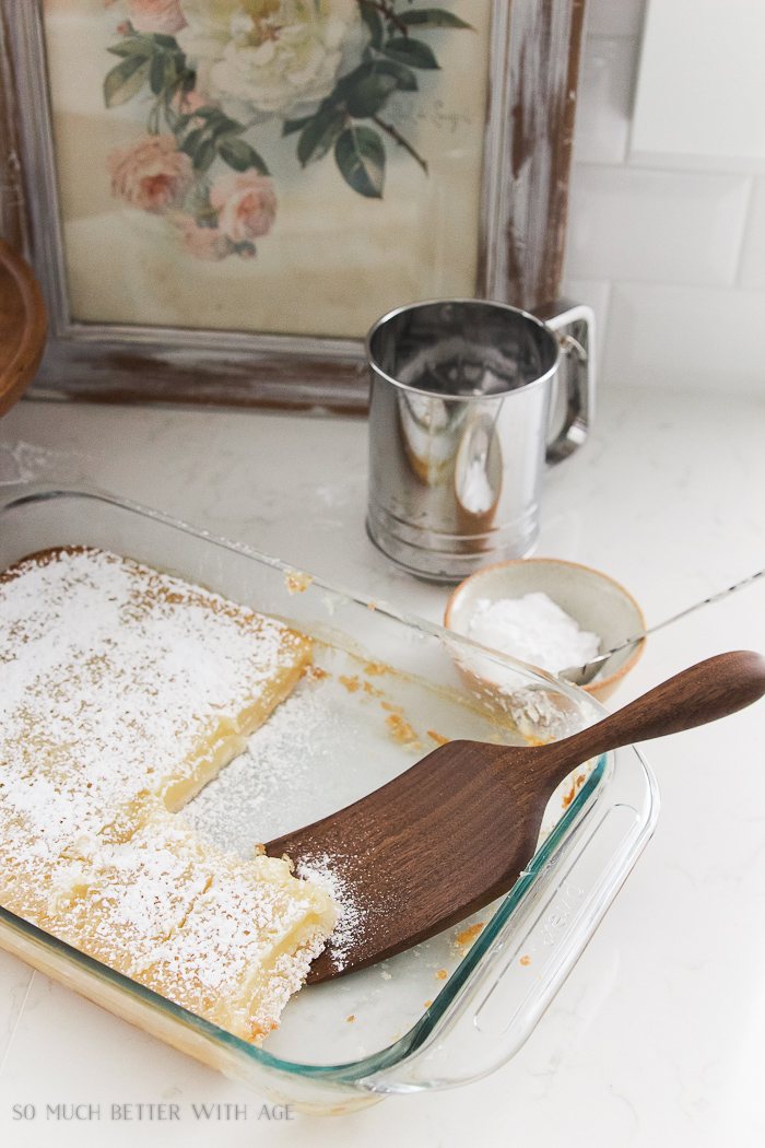 Lemon Coconut Shortbread Bars / wooden spatula - So Much Better With Age