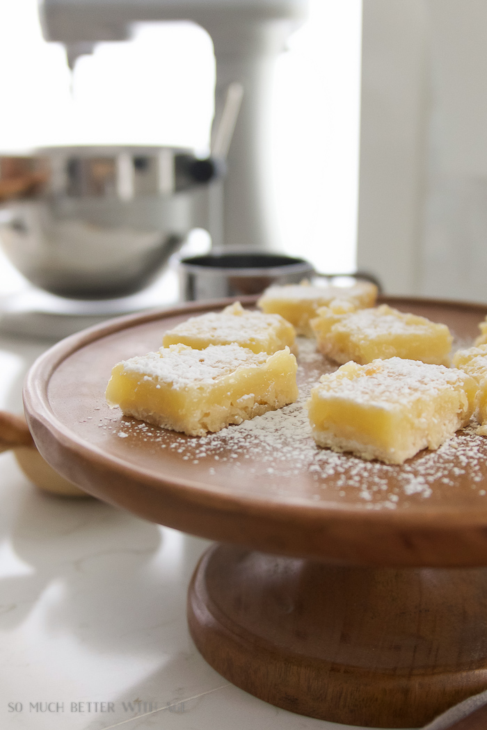 Lemon Coconut Shortbread Bars / Wooden cake stand, kitchenaid mixer- So Much Better With Age