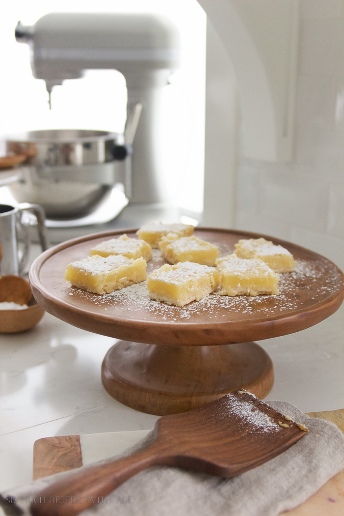 Lemon Coconut Shortbread Bars / wooden cake stand - So Much Better With Age