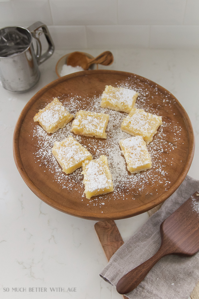 Lemon Coconut Shortbread Bars / on cake stand - So Much Better With Age