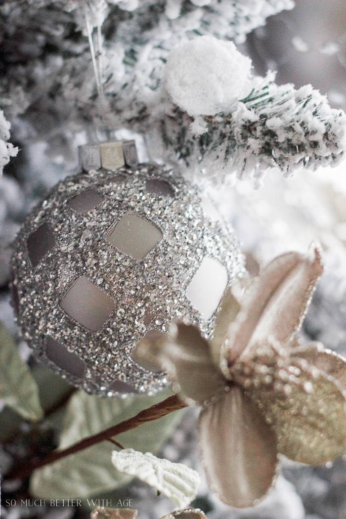 silver ornaments - Two flocked Christmas trees, a review