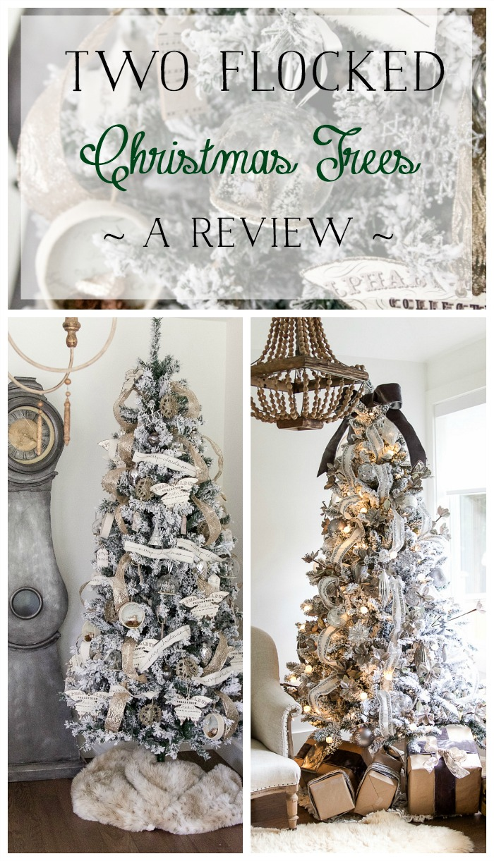 Two flocked Christmas trees, a review