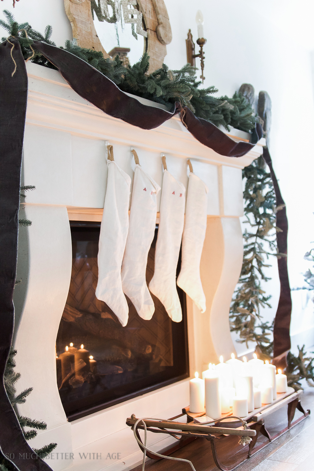 European-looking vintage Christmas stockings sewing tutorial and free downloadable pattern / stockings hanging on the mantel - So Much Better With Age