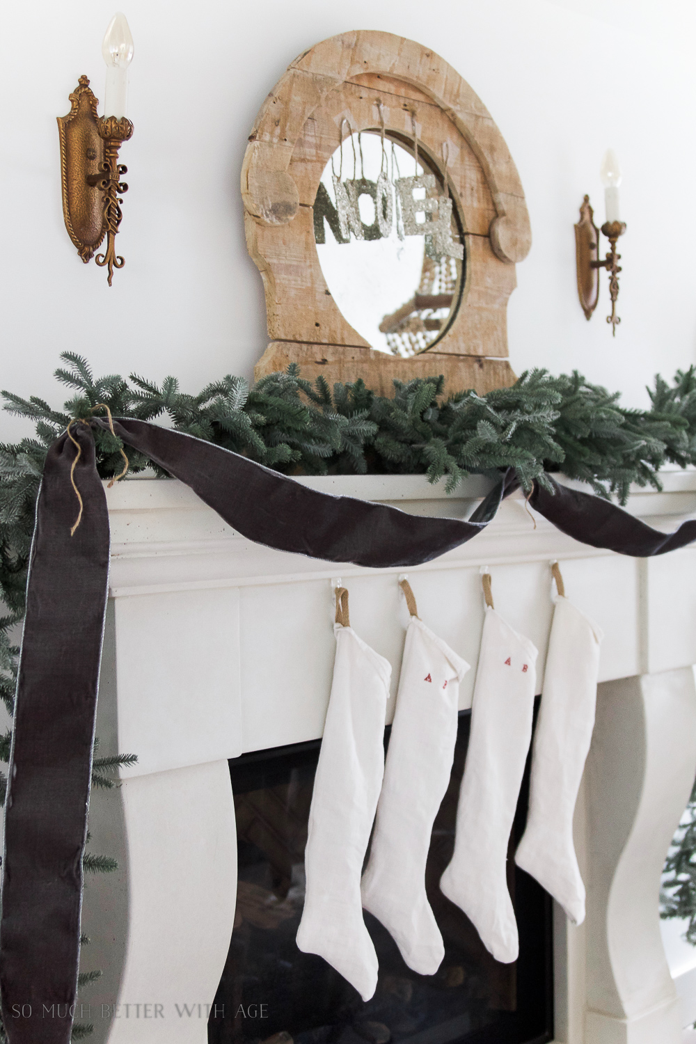 Christmas Mantel 2016 / French linen stockings - So Much Better With Age