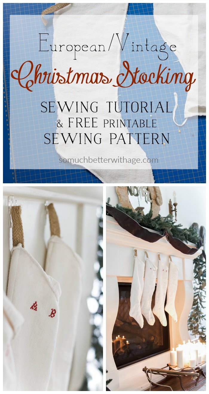 European looking vintage christmas stockings sewing tutorial and europeanvintage christmas stocking sewing pattern jeuxipadfo Gallery