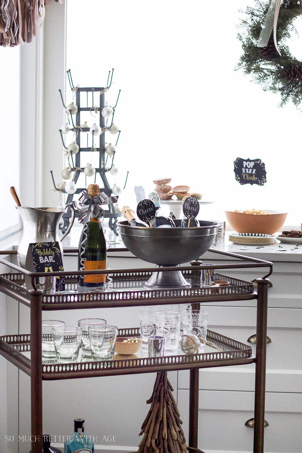 A New Year's Eve Party Bubbly Bar with Party Tips / champagne on bar cart - So Much Better With Age