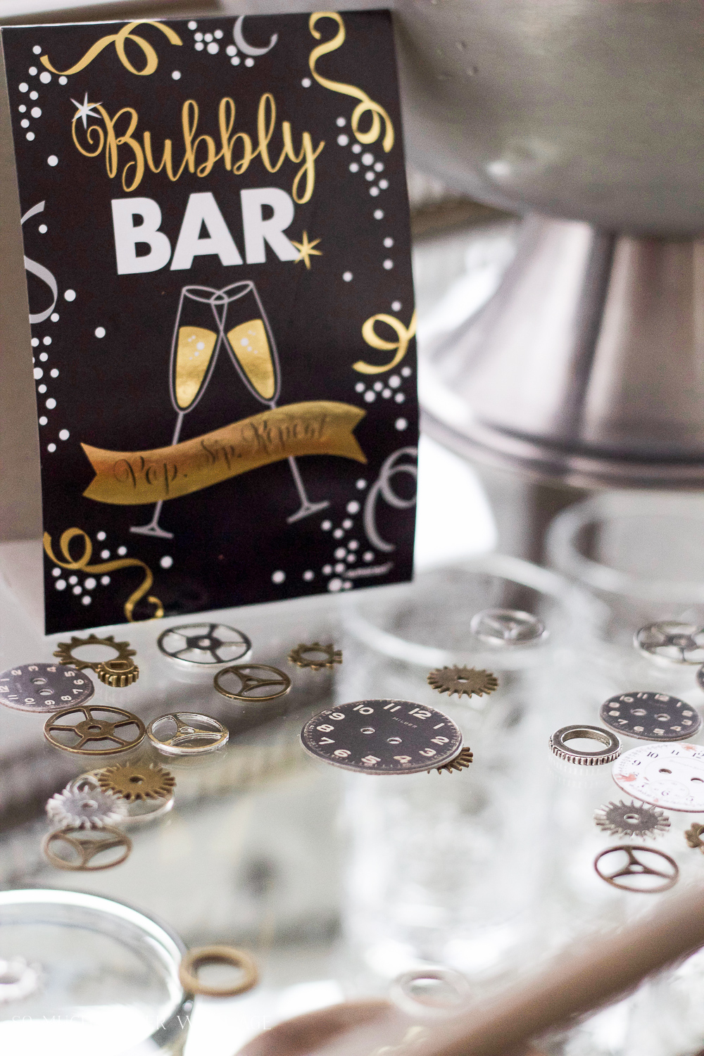 A New Year's Eve Party Bubbly Bar with Party Tips / drink sign - So Much Better With Age