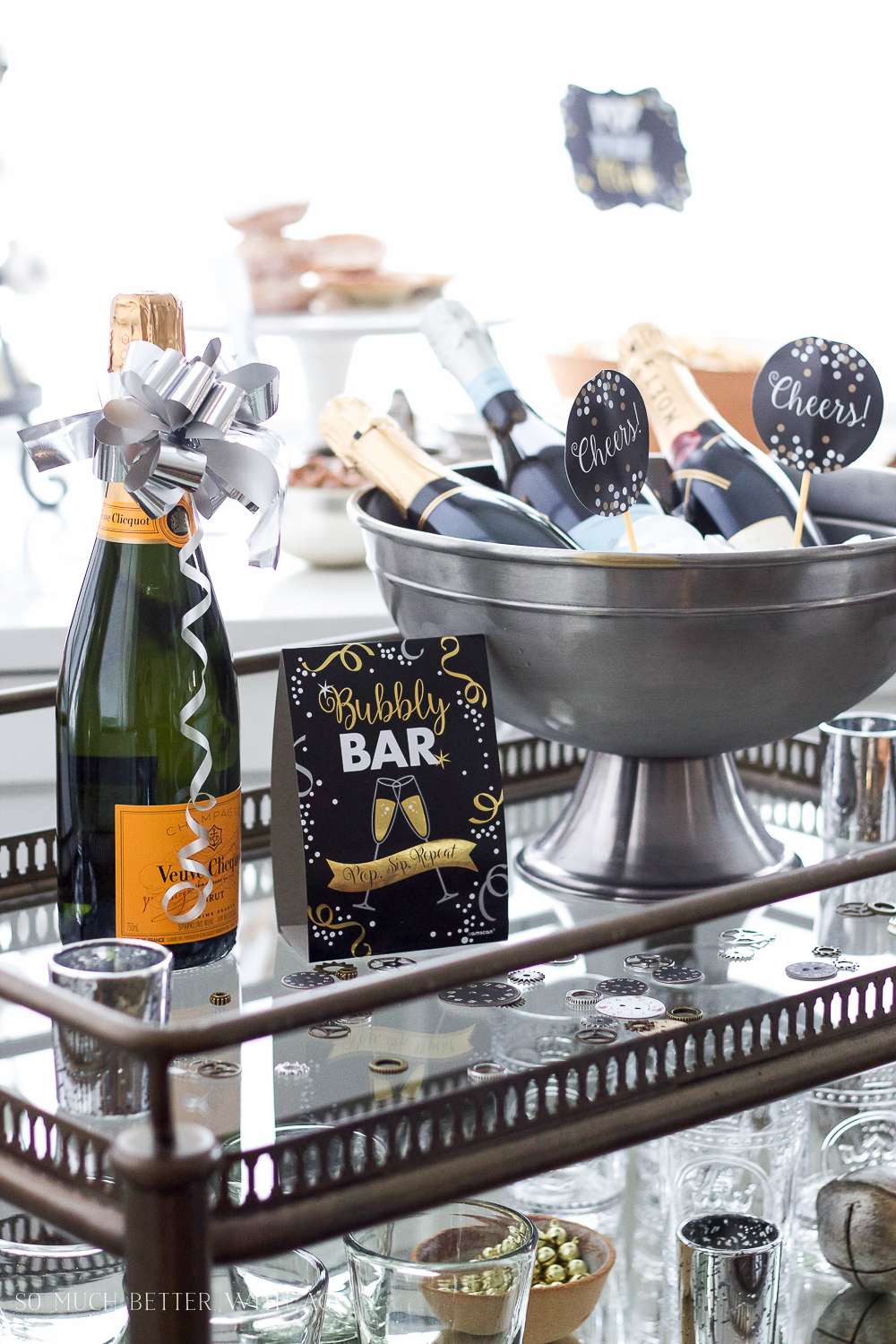 A New Year's Eve Party Bubbly Bar with Party Tips - So Much Better With Age
