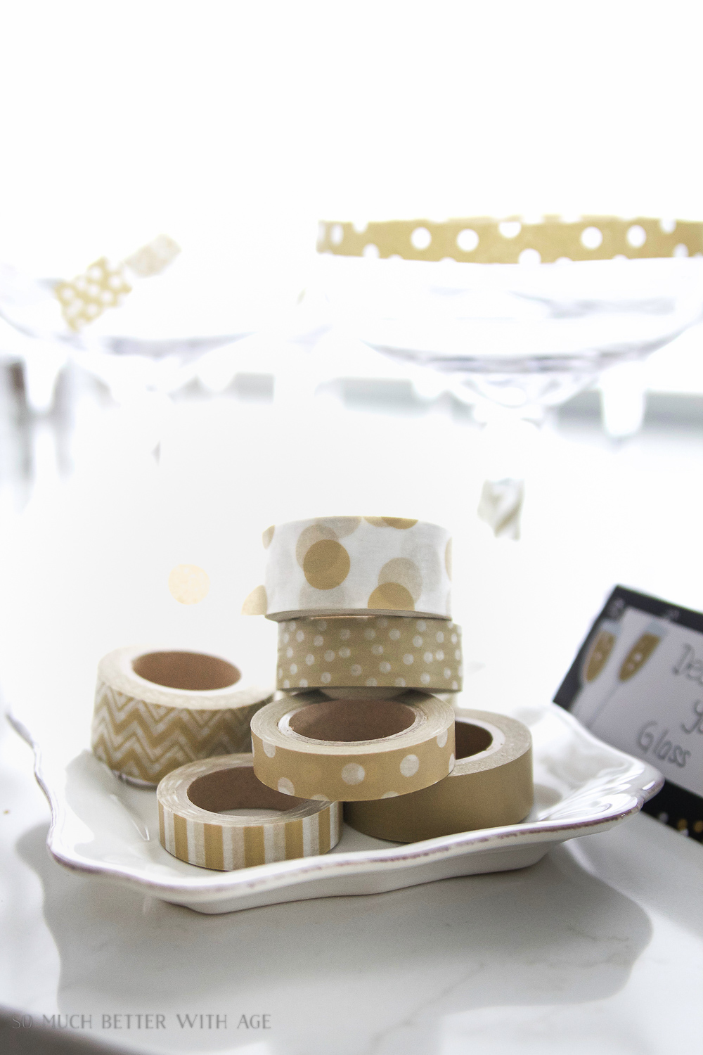 Decorate your glass with washi tape - A New Year's Eve Party Bubbly Bar with Party Tips