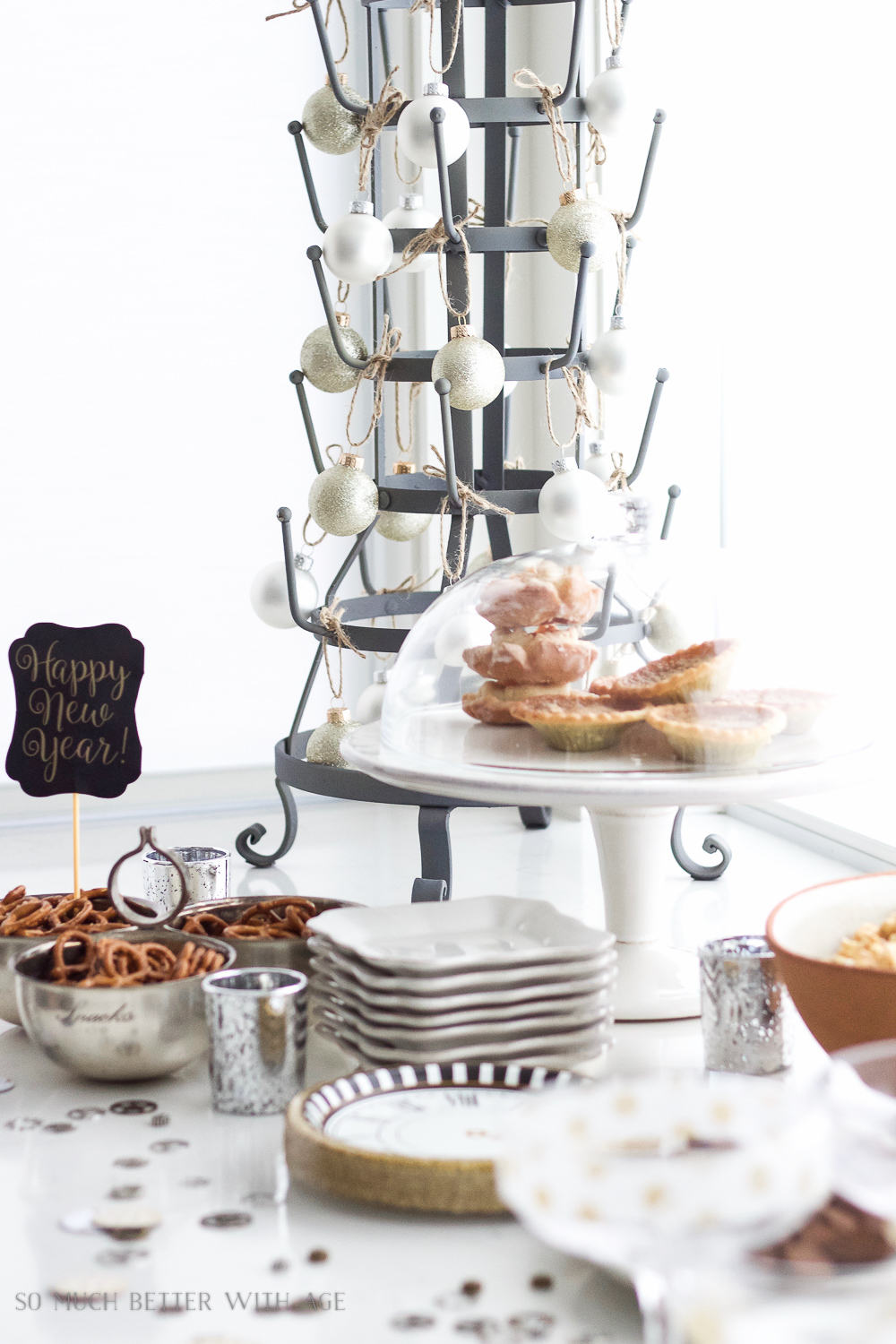 A New Year's Eve Party Bubbly Bar with Party Tips / yummy snacks on table - So Much Better With Age