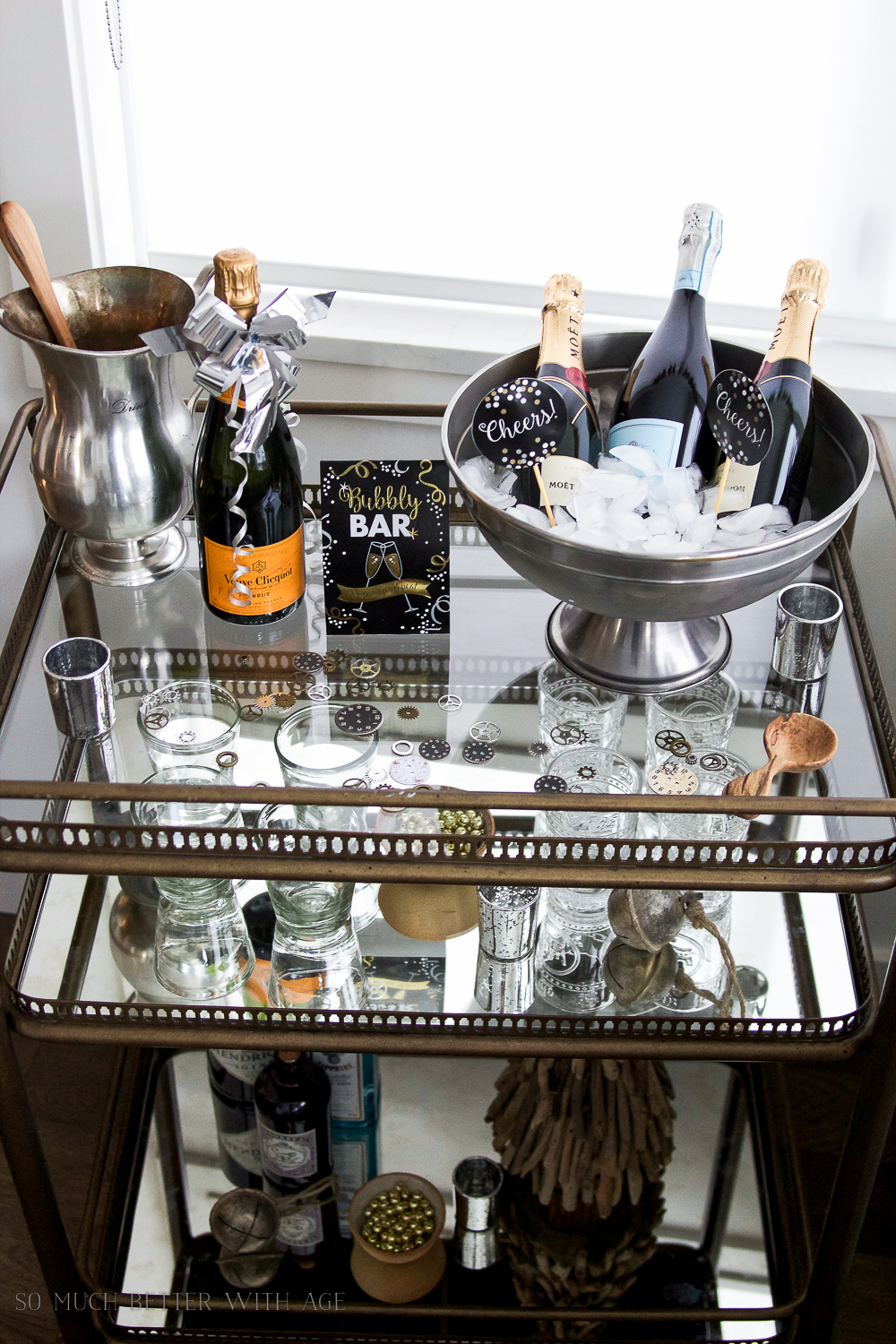 A New Year's Eve Party Bubbly Bar with Party Tips / Champagne buckets - So Much Better With Age