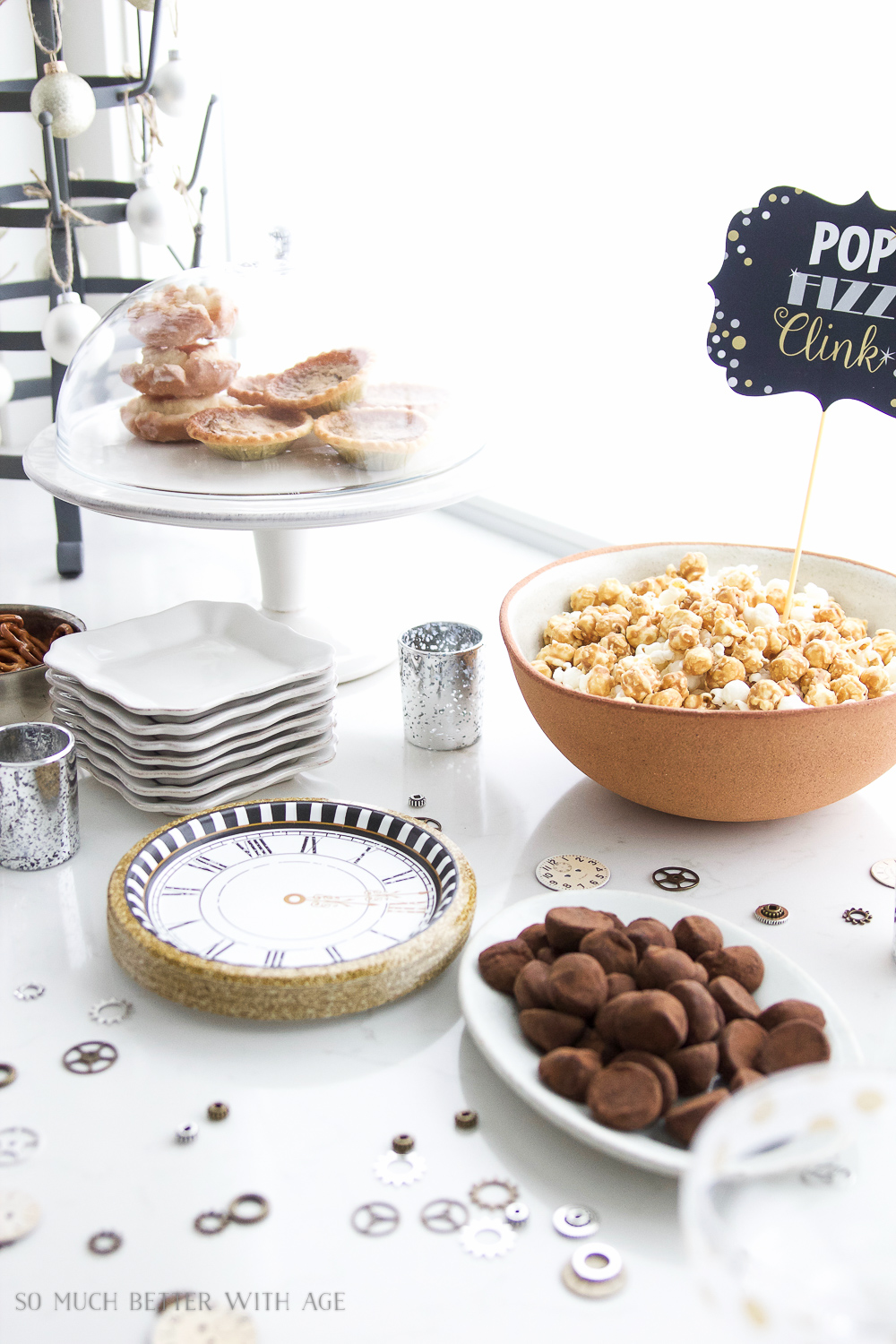 A New Year's Eve Party Bubbly Bar with Party Tips / popcorn on table - So Much Better With Age