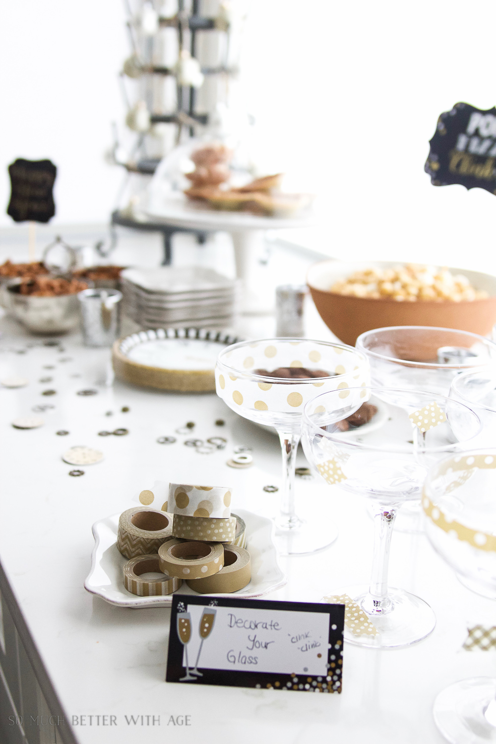 A New Year's Eve Party Bubbly Bar with Party Tips / Decorate your glass with washi tape - So Much Better With Age