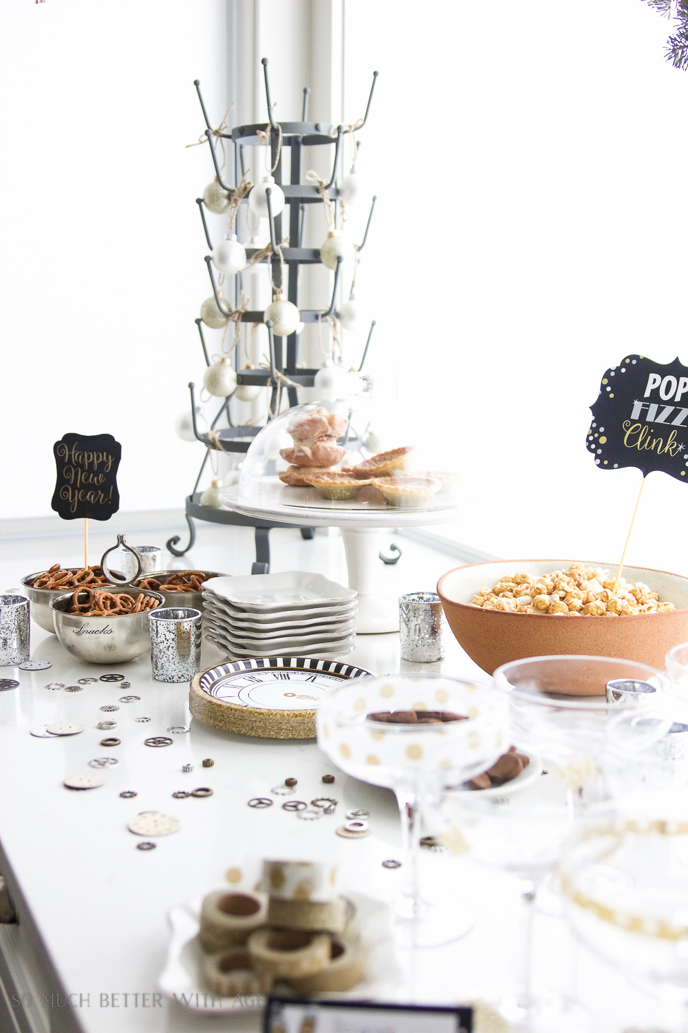 A New Year's Eve Party Bubbly Bar with Party Tips / gold clock plates - So Much Better With Age
