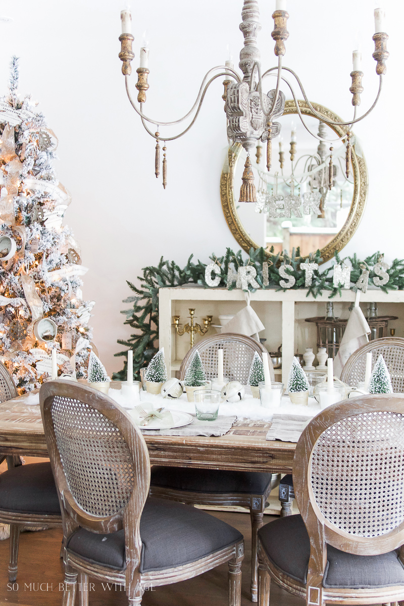 Christmas Tour 2016 - Dining Room and DIY Snowy Centrepiece / pretty French chandelier - So Much Better With Age