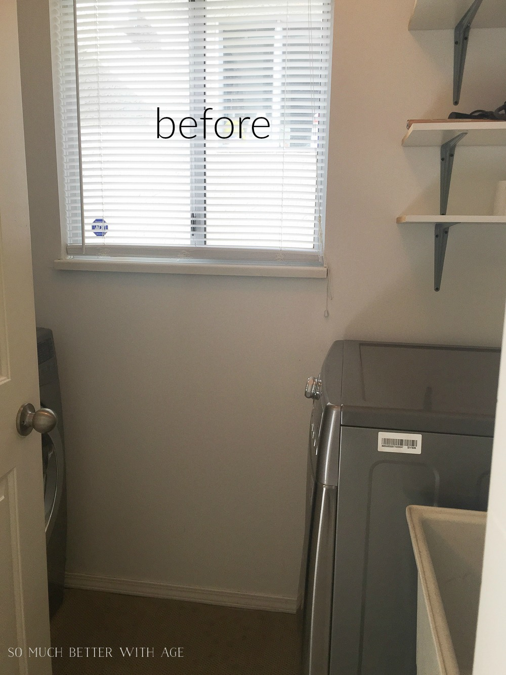 Tiny Vintage Mudroom Makeover / window in mudroom - So Much Better With Age