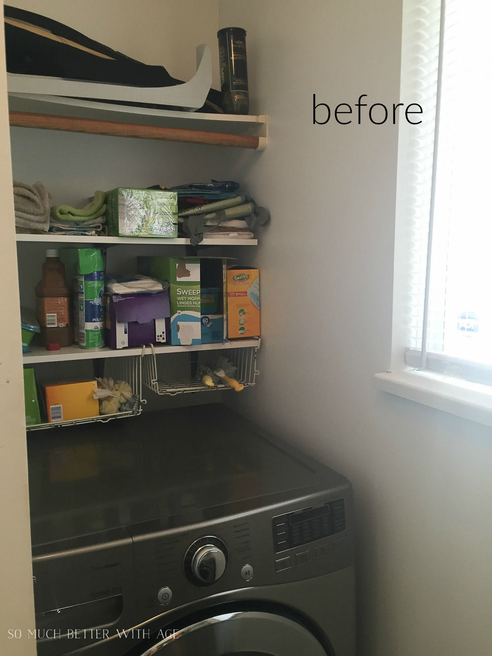Tiny Vintage Mudroom Makeover / shelves about washing machine - So Much Better With Age