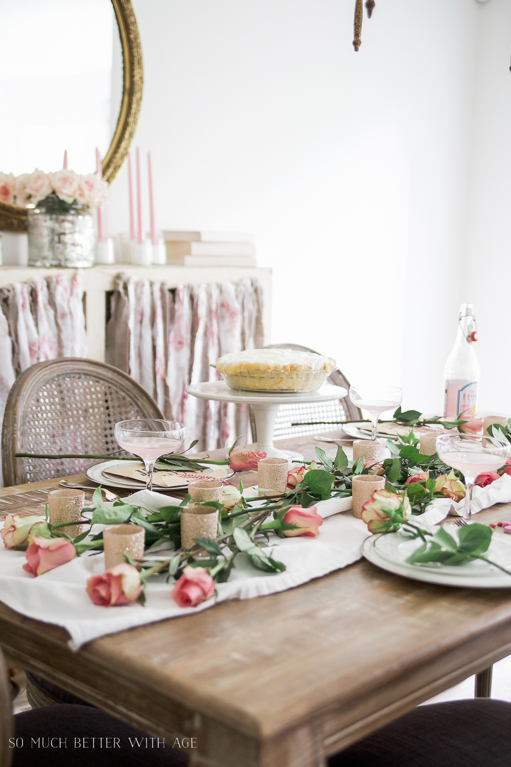 How to Set a Beautiful Valentine's Day Table Setting, a step-by-step guide / pie on plate on table - So Much Better With Age
