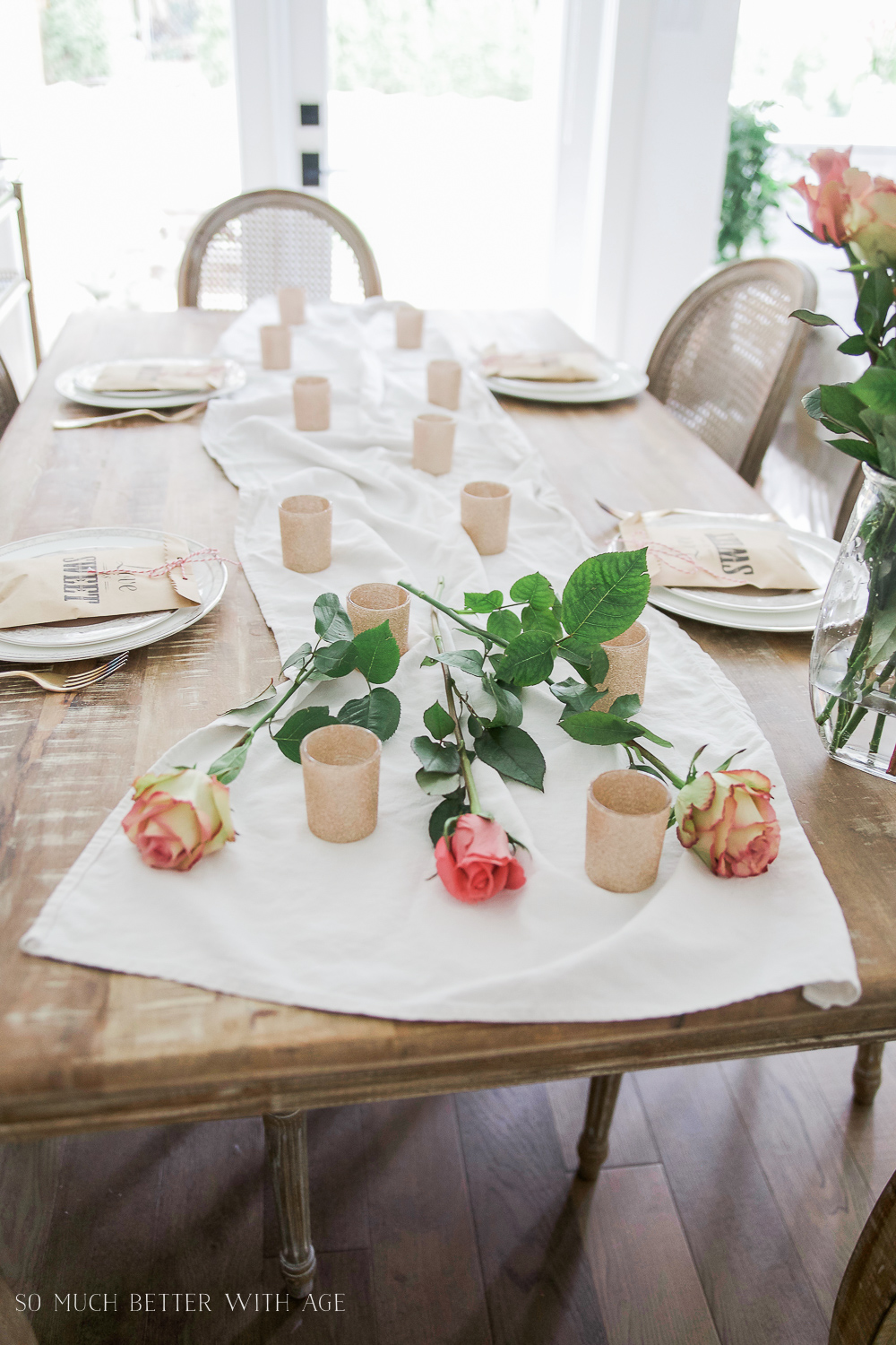 How to Set a Beautiful Valentine's Day Table Setting, a step-by-step guide / yellow roses on table - So Much Better With Age