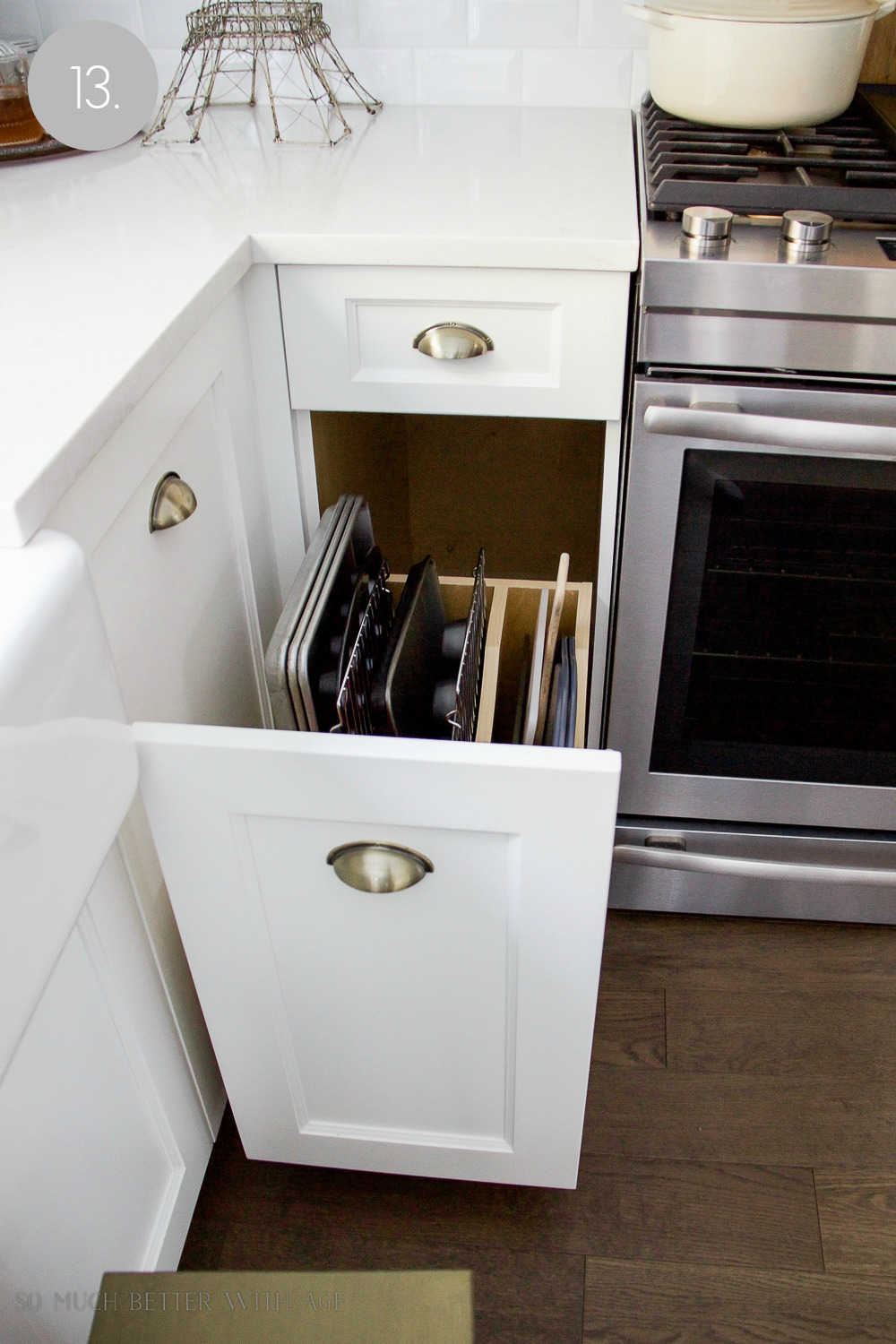 Kitchen cupboard and drawer organization / baking sheets in drawer - So Much Better With Age