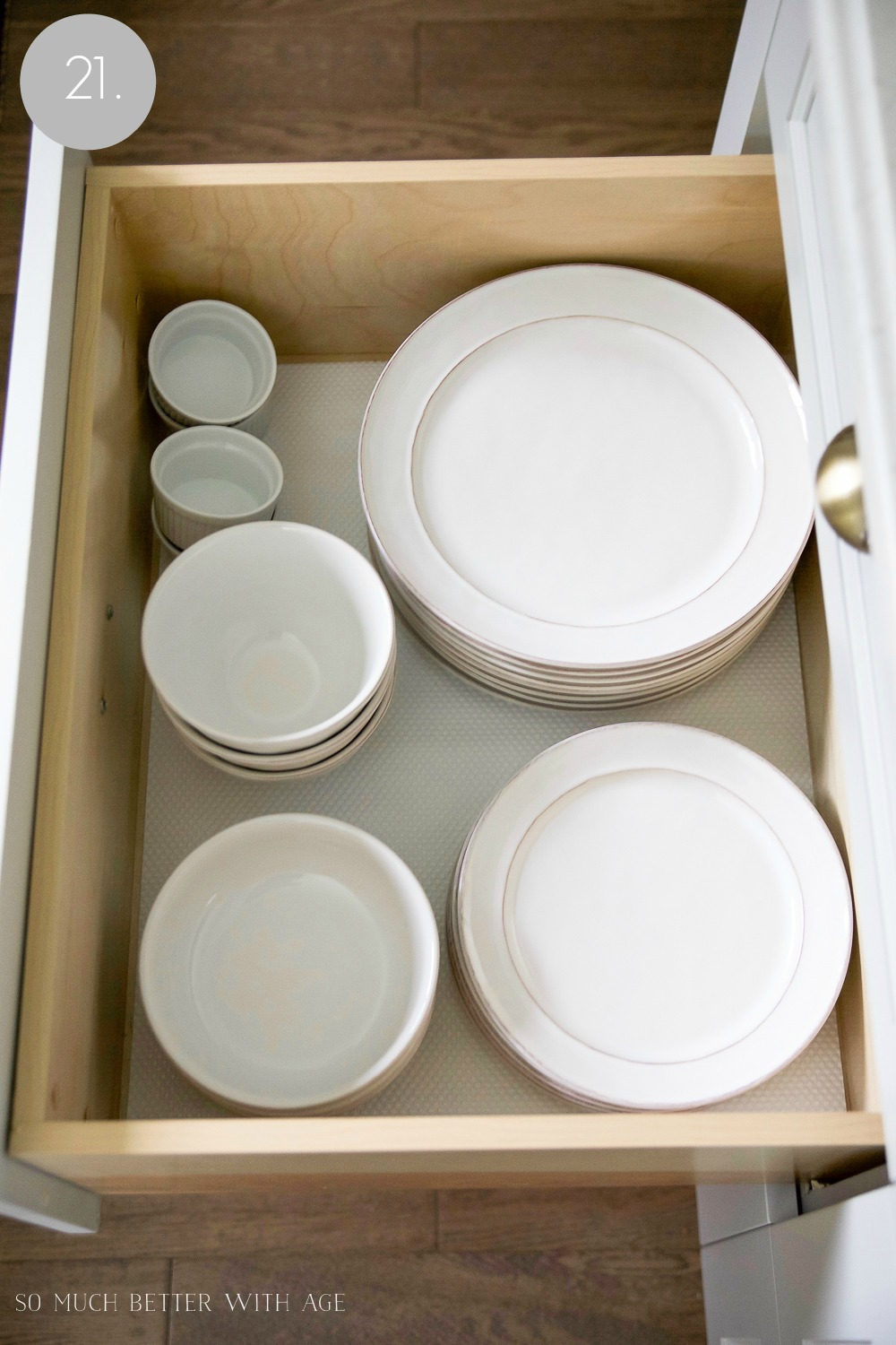 Kitchen cupboard and drawer organization / bowls and ramekins in drawer - So Much Better With Age