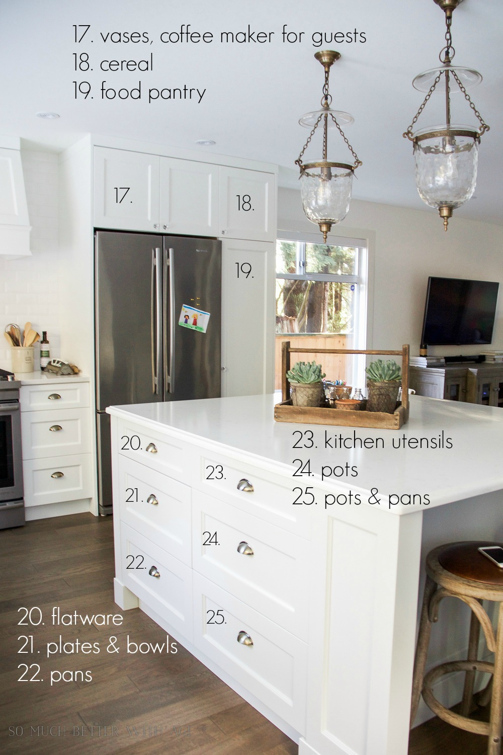 Kitchen cupboard and drawer organization / beautiful pendant lights in kitchen - So Much Better With Age