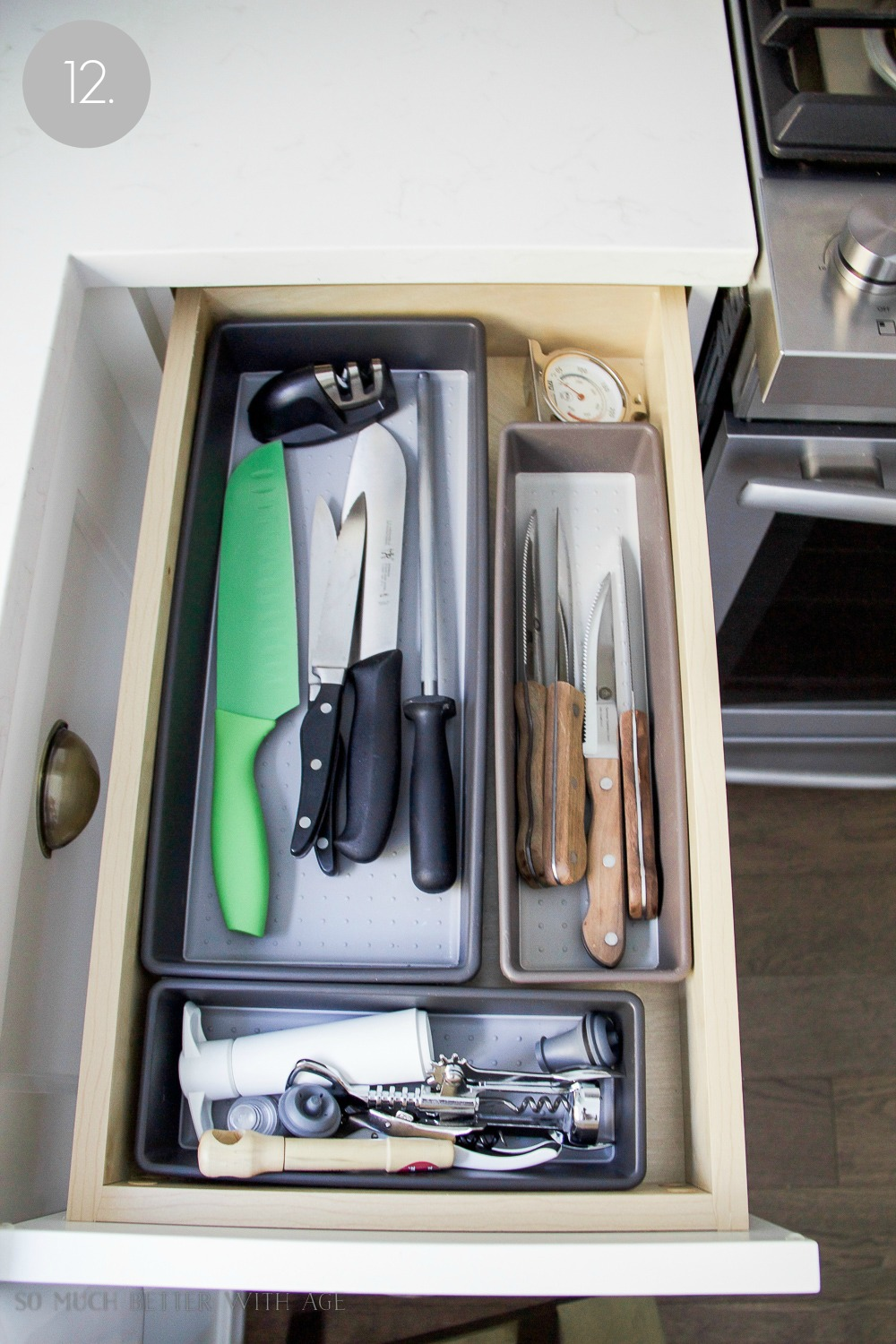 Kitchen cupboard and drawer organization / organizing the knife drawer - So Much Better With Age