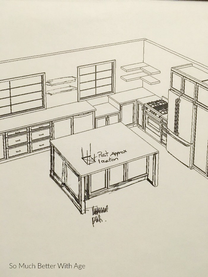 Kitchen cupboard and drawer organization / drawings of kitchen when in development - So Much Better With Age