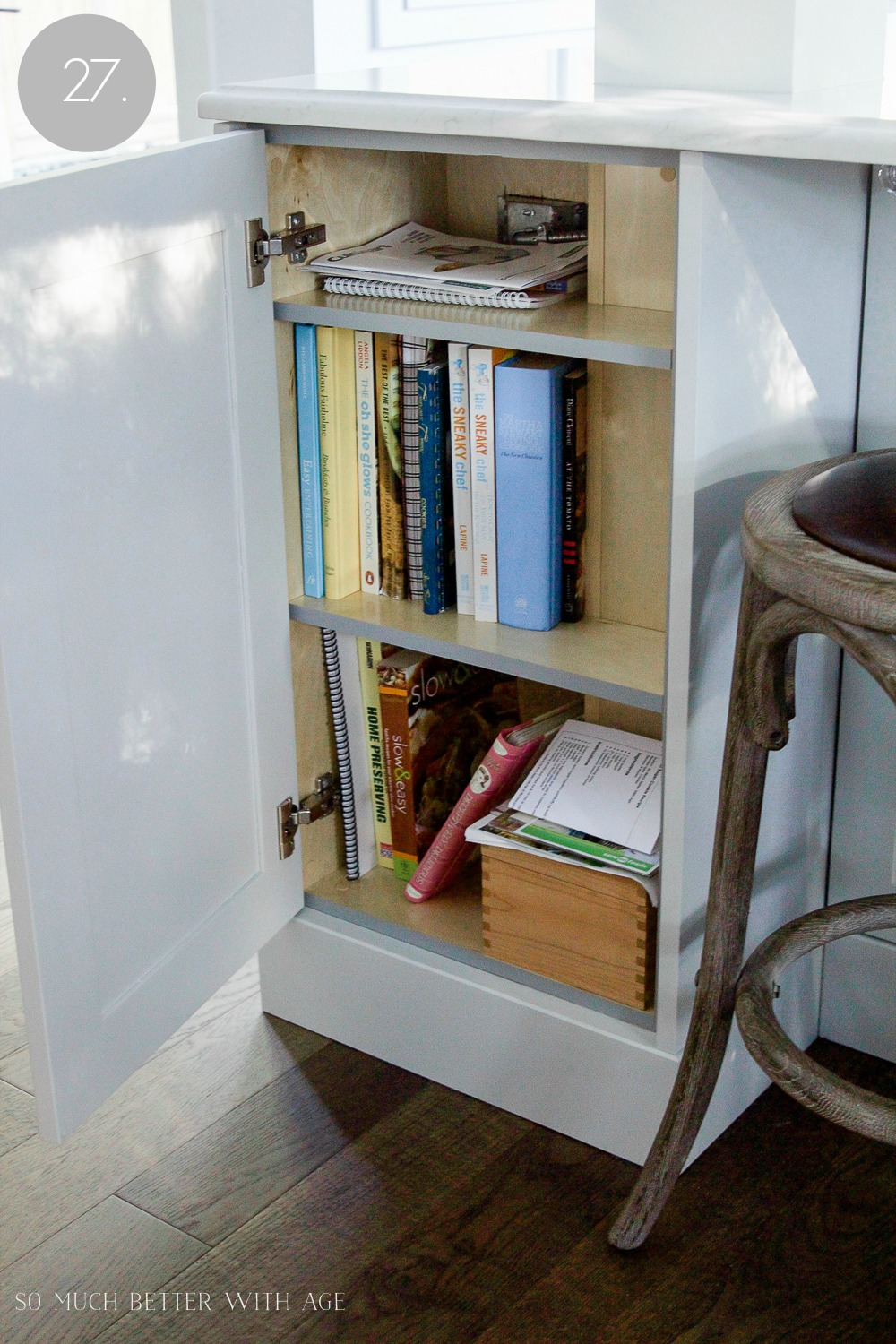 Kitchen cupboard and drawer organization / organized cookbooks - So Much Better With Age
