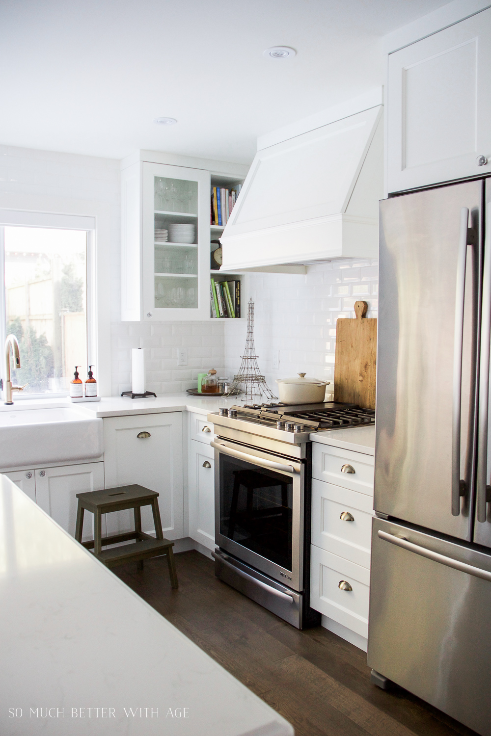 White kitchen, subway tile, white range hood/ My Big Beautiful Kitchen Renovation - Before and After Photos