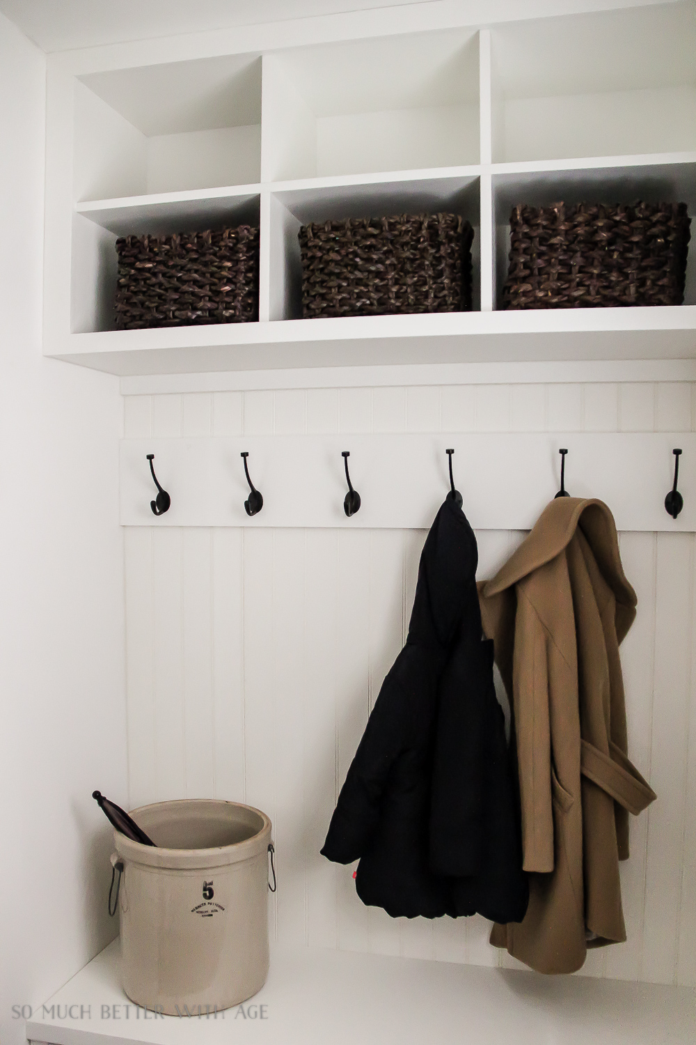 Tiny Vintage Mudroom Makeover / built in cubby holes- So Much Better With Age