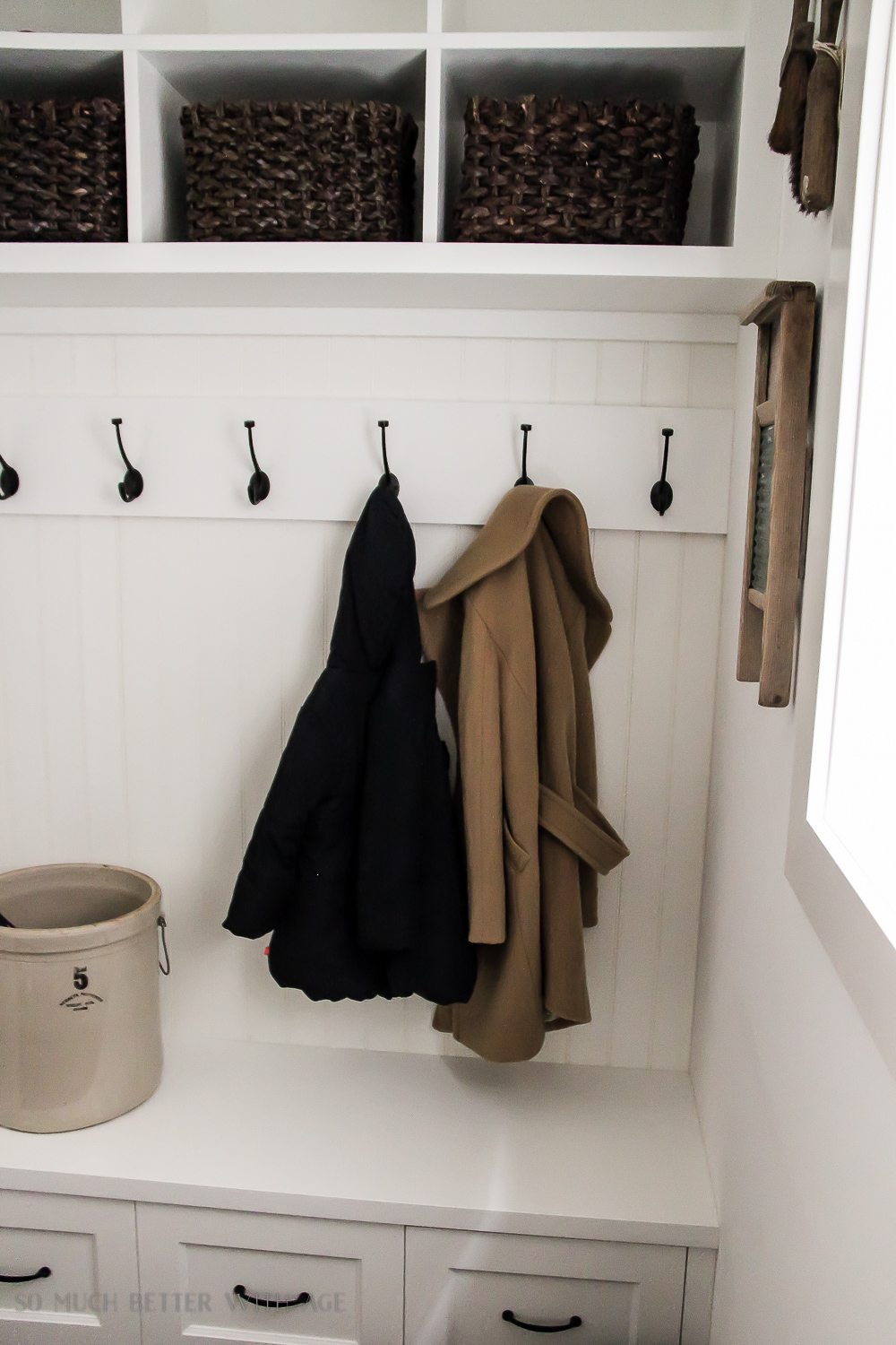 Tiny Vintage Mudroom Makeover - So Much Better With Age