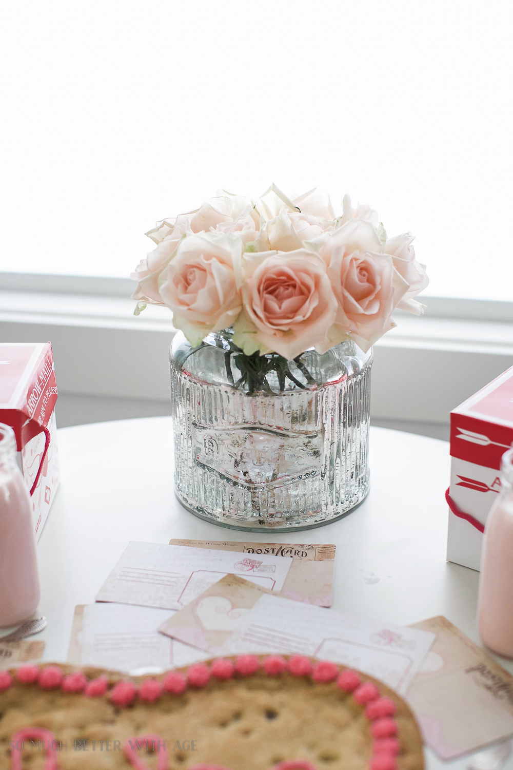 Valentine's Day Kids' Table / roses in vase - So Much Better With Age