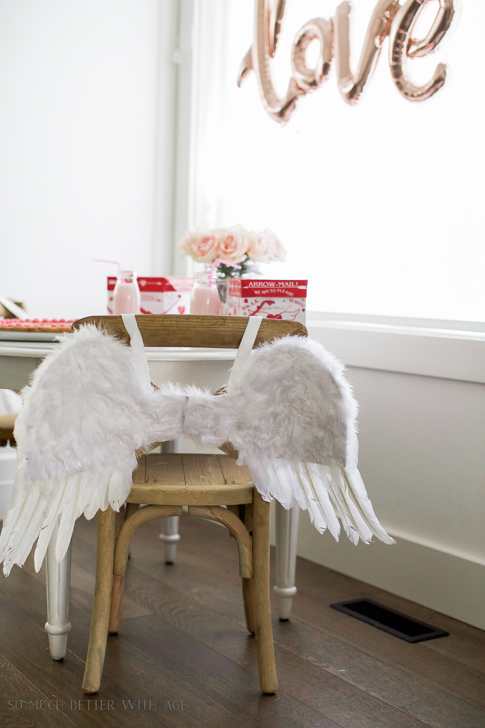 Valentine's Day Kids' Table / wooden chair with angel wings - So Much Better With Age