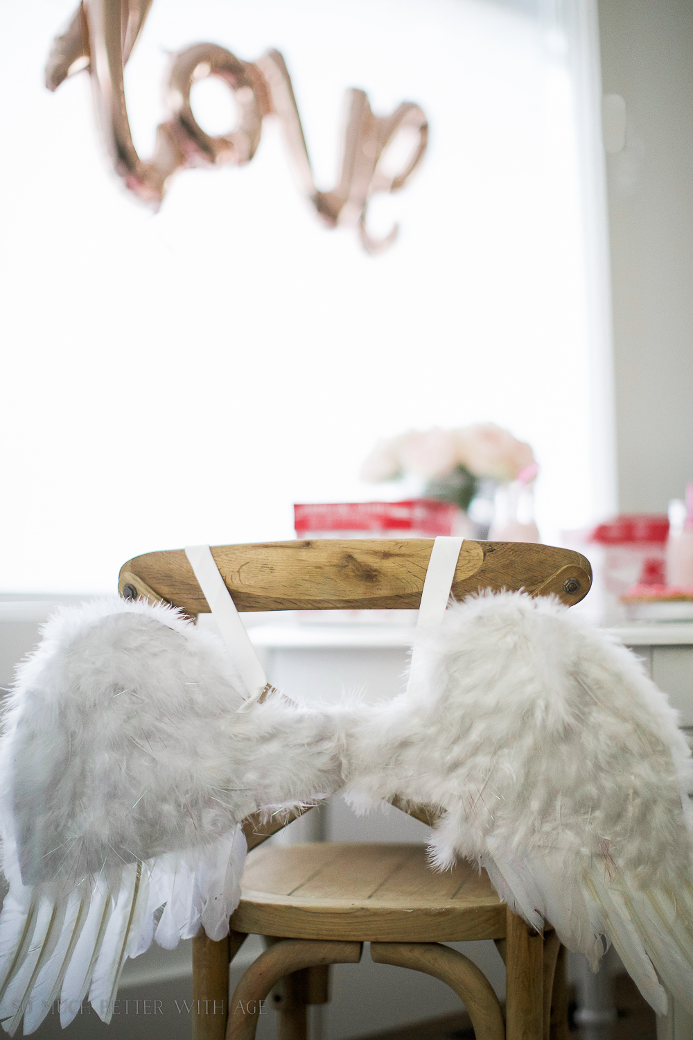 Valentine's Day Kids' Table / fluffy angel wings - So Much Better With Age
