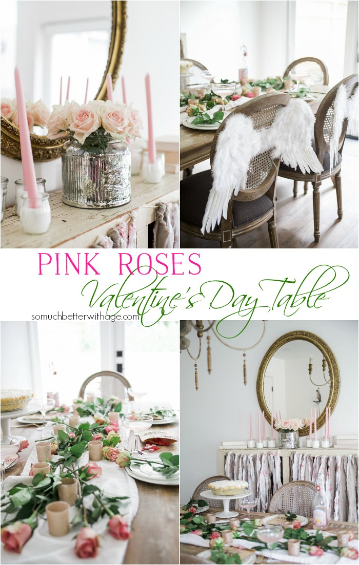 Pretty Pink Roses Valentine's Day Table Setting