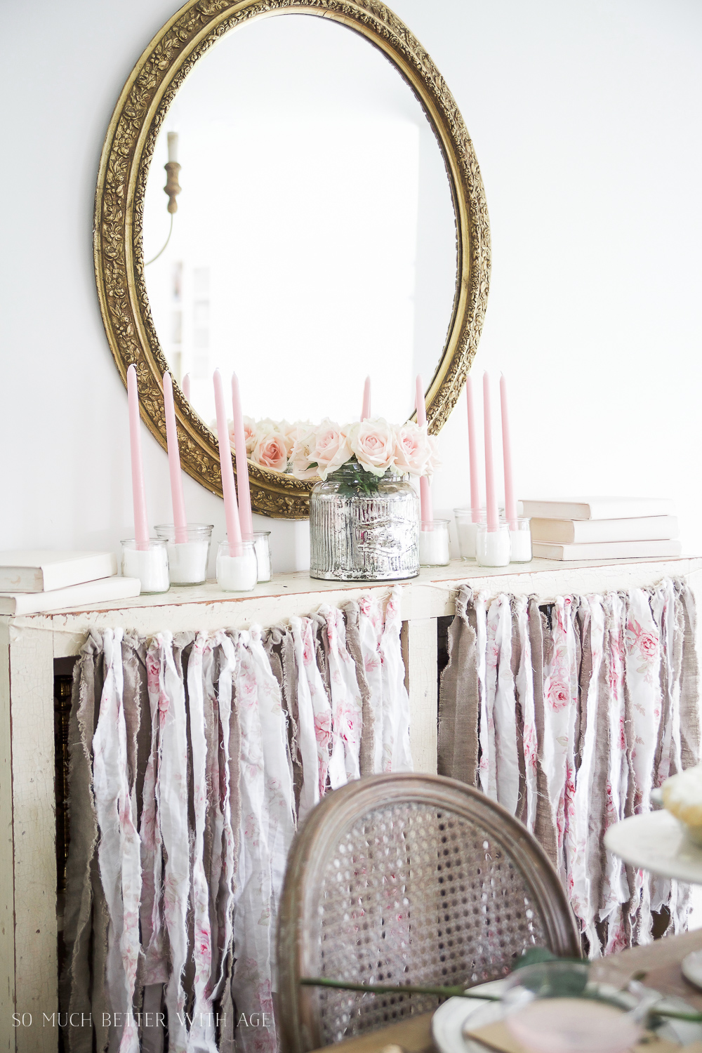 How to Set a Beautiful Valentine's Day Table Setting, a step-by-step guide / beautiful antique mirror on wall - So Much Better With Age