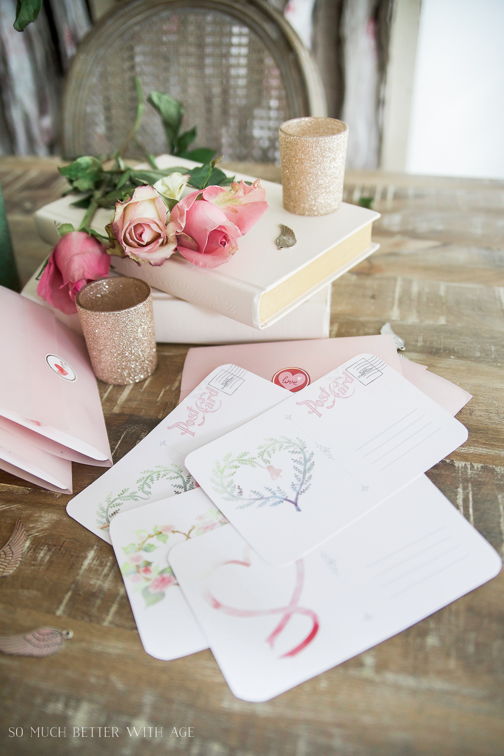 Valentine's Day Free Postcard Printables/Download with DIY Vellum Envelope / candle holders and envelopes on table - So Much Better With Age