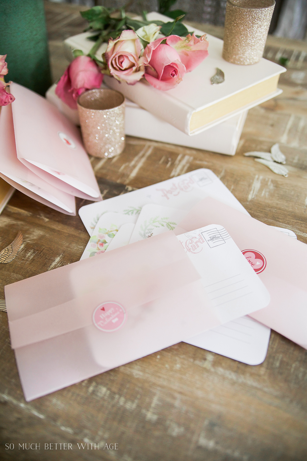 Valentine's Day Free Postcard Printables/Download with DIY Vellum Envelope / DIY Valentine's Day cards - So Much Better With Age