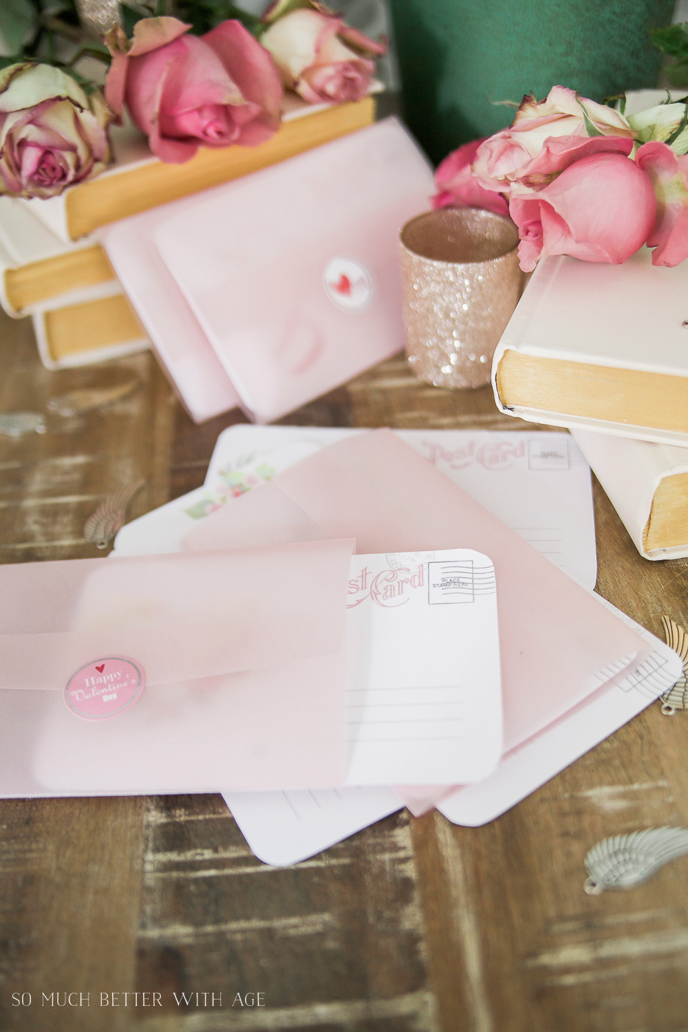 Valentine's Day Free Postcard Printables/Download with DIY Vellum Envelope / envelopes with seal - So Much Better With Age