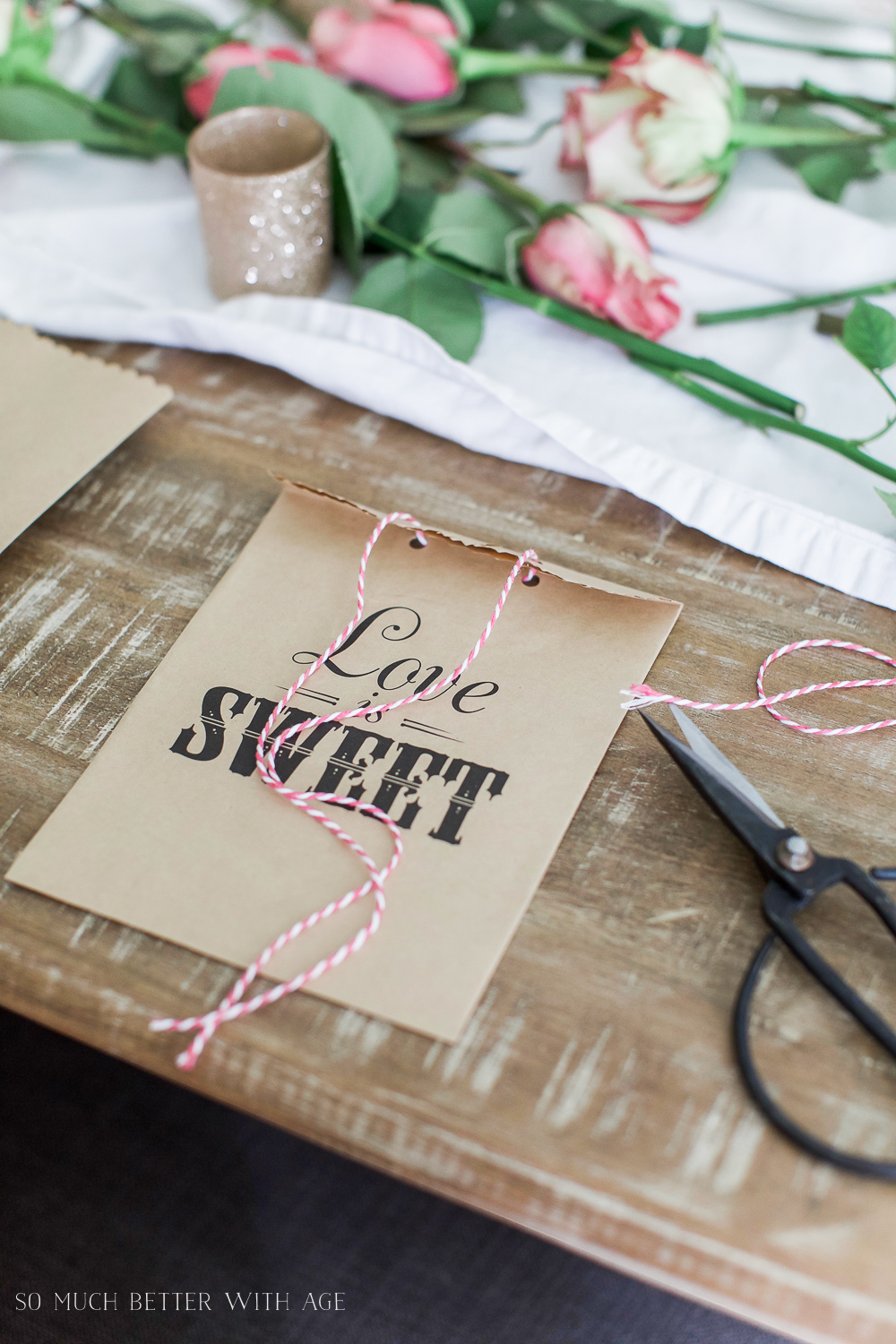 Valentine's Day Kraft Treat Bags / love is sweet treat bag - So Much Better With Age