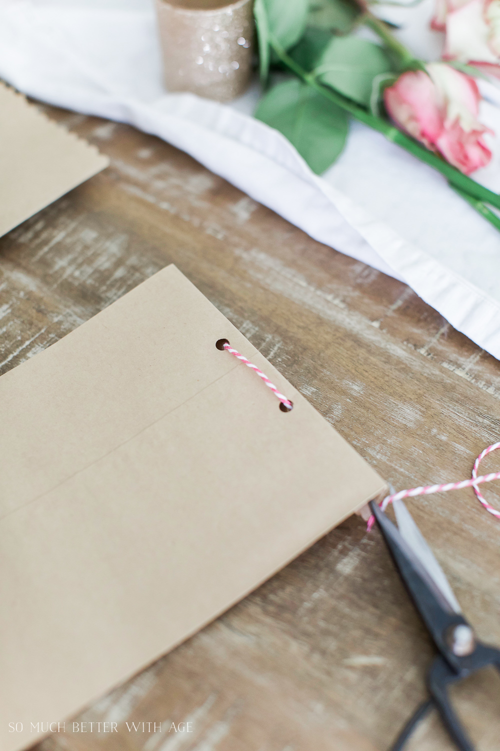 Valentine's Day Kraft Treat Bags / putting string through the holes - So Much Better With Age